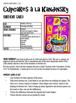 Back to School: Cupake, Art Project: Birthday Card in the style of Kandinsky