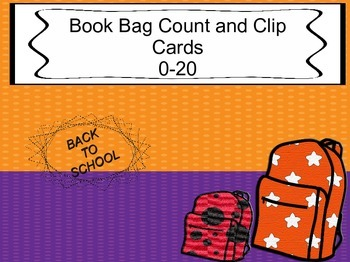 Back to school- BOOK BAG CLIP CARDS