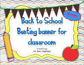 Back to school Bunting Banner Freebie