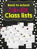 Back to school Class Lists templates (EDITABLE)