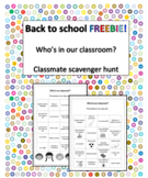 Back to school - Classmate scavenger hunt - FREEBIE