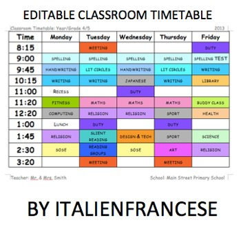 Back to school Classroom timetable schedule EDITABLE Wishlist Priced