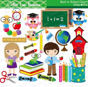 Back to school Clipart and background paper set