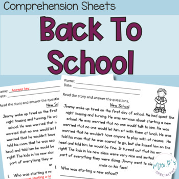 Back to school Comprehension Pack