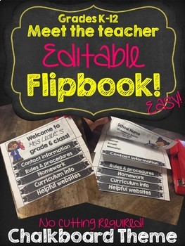 Back to school EDITABLE Flipbook!