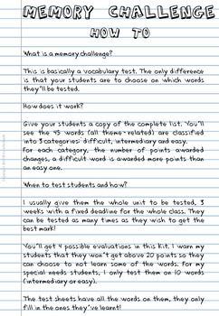 ESL Memory-Challenge Back to school