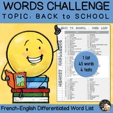 Vocabulary Word List - Back to school