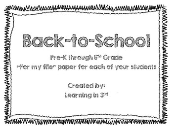 "Back to school - ""For my file"" about student"