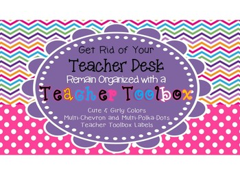 Back to school Girly Chevron/Polka-Dot Teacher Toolbox Labels