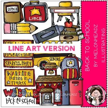 Melonheadz: Back to school clip art - LINE ART