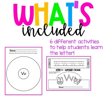 Back to school Letter of the Week Alphabet- Letter Vv