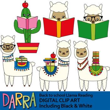 Back to school Llama reading clip art