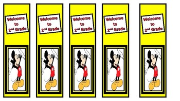 Back to school Mickey Bookmarks Welcome to 2nd Grade