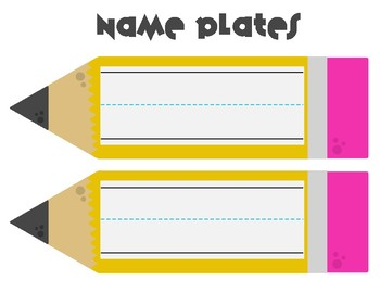 Back to school Pencil Name Plates