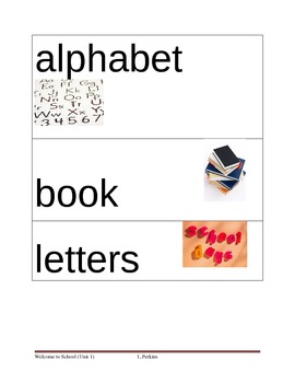Back to school Picture Vocab Cards