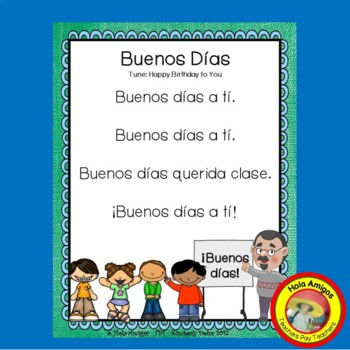 Back to school Spanish greetings song, worksheets, activities - Buenos Días