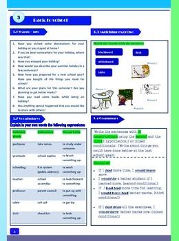 Back to school-  Speaking + Vocabulary + Grammar- for ESL or EFL students
