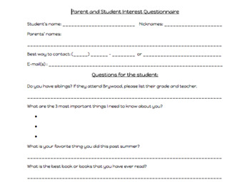Back-to-school Student & Parent Questionnaire