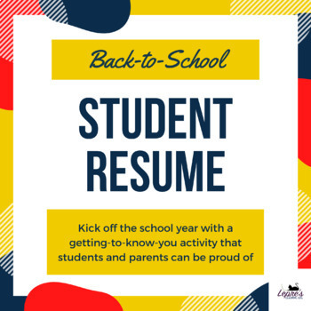 Back-to-school Student Resume - perfect for the first day of school!