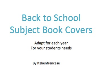 Back to school Subject book covers Wishlist Priced