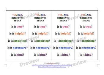 Back to school THINK before your SPEAK worksheets, poster and bookmarks