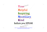 Back to school THINK before your SPEAK worksheets, poster