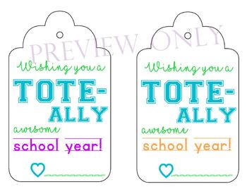 Back to school TOTE printable tag for teacher/staff/para/assistant