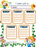 Back to school, Timetable