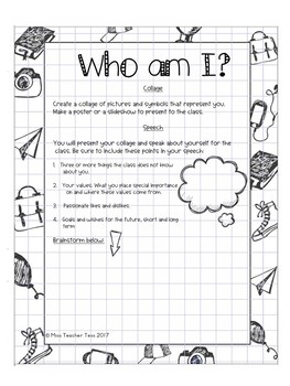 "Back to school: ""Who am I?"" Assignment"
