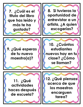 Back to school activities - Spanish - Regreso a clases