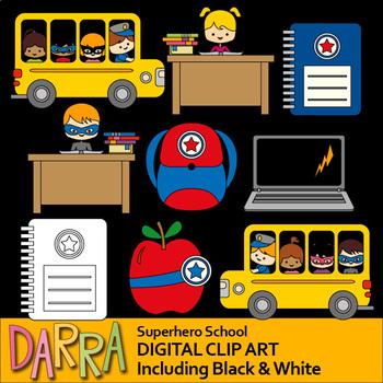 Back to school activities clipart - Superhero School Clip Art
