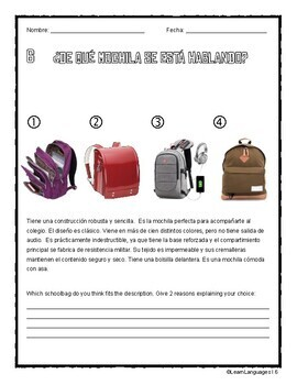 Back to School Activity Pack - Intermediate Spanish