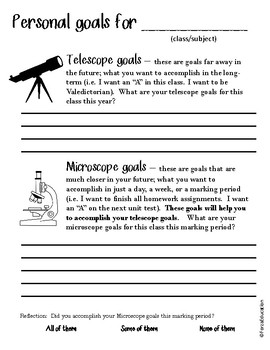 Back to school and all year GOAL SETTING for middle-high school students