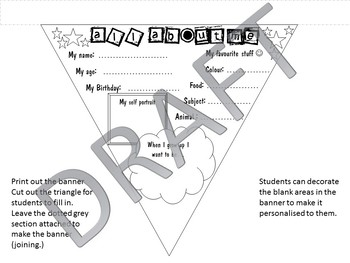 Back to school bunting, pennant, banner - UK spelling