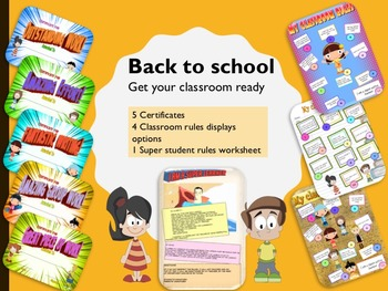 Back to school classroom rules displays and certificates