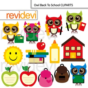 Back to school clip art / Cute owls clipart / commercial use