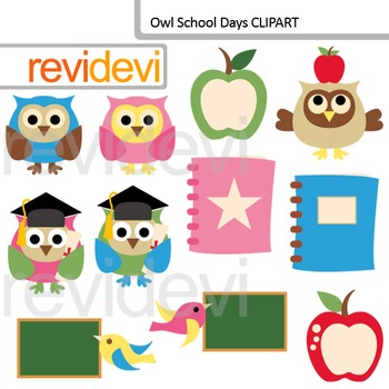 Back to school clip art / Owl School days clipart