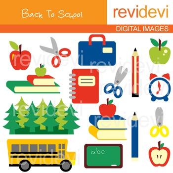 Back to school clip art (books, pencils, apples, clocks, s
