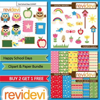 Back to school clip art / clipart and digital paper bundle (3 packs)
