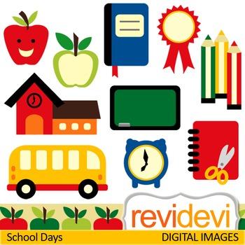 Back to school clip art (pencils, books, apples, school bus, chalkboard) clipart