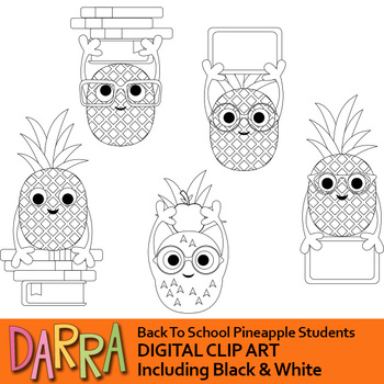 Back to school clipart, Pineapple students clip art
