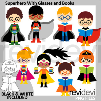 Back to school clipart - Superhero with glasses and books