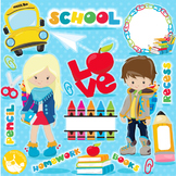 Back to school clipart commercial use, vector graphics  - CL1095