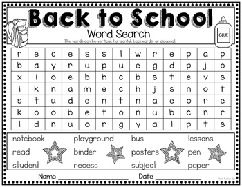 Back to school coloring sheets and word searches~ freebie