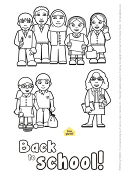 Back to school colouring picture
