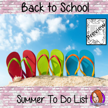 Back to School Complete Summer To-Do List!