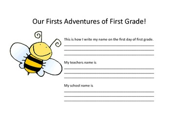 Back to school, first grade, firsties, bumblebees