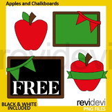 Back to school free clip art - apple and chalkboard