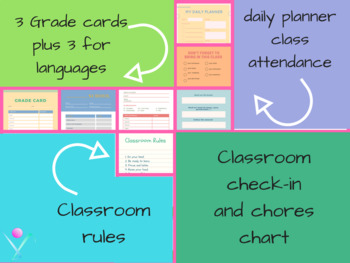Back to school grading cards and organisation sheets