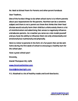 Back to school healthy poem, snack list and lunch ideas